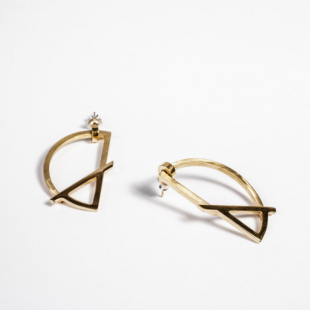 Funky gold statement earrings, Irish made jewellery, best presents for girlfriends  data-zoom=