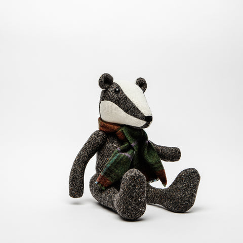 Tweed Badger wearing a John Hanley scarf, Traditional tweed badger, Irish children's gift