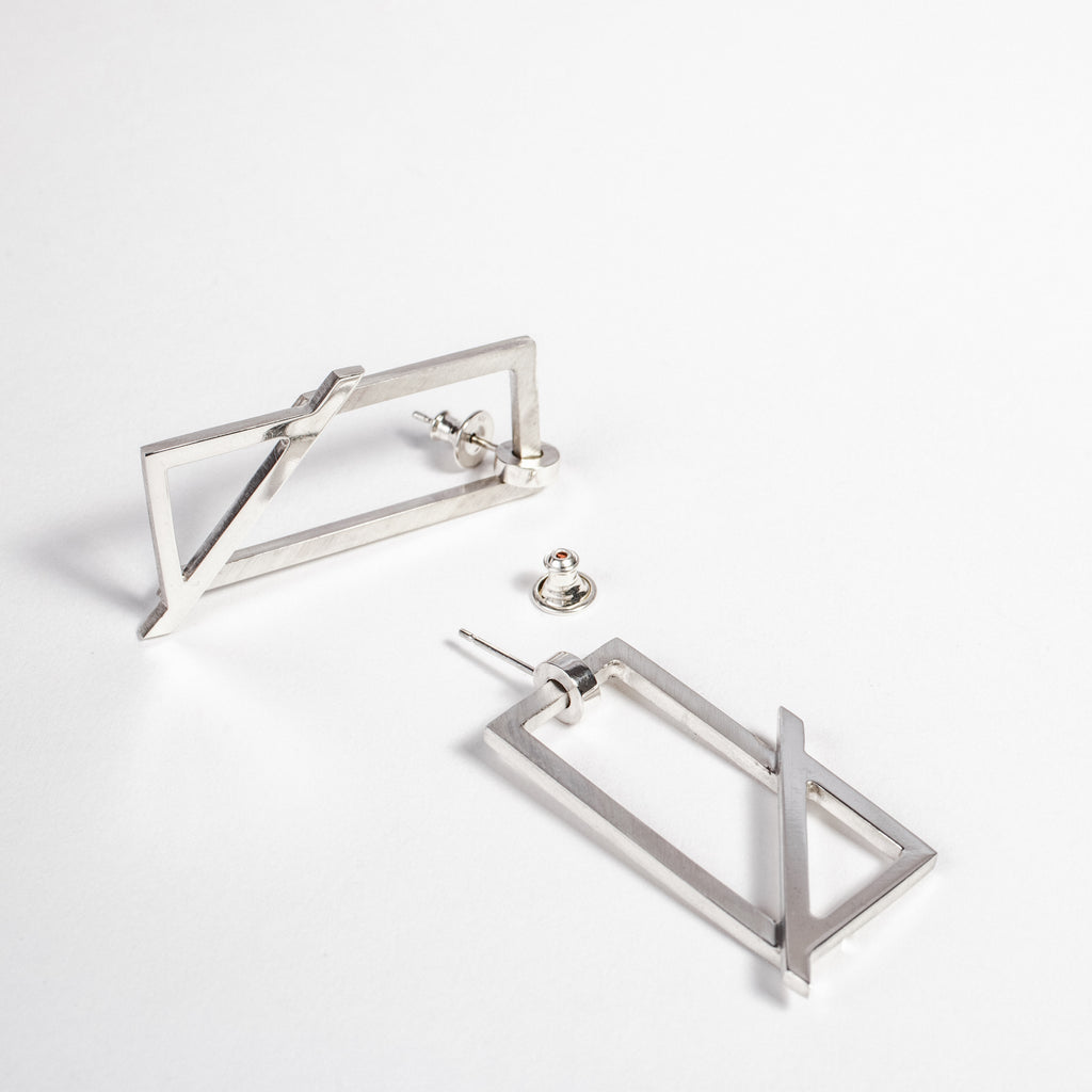 Alternative hoop earring, Statement geometric earring, Contemporary hoop earring data-zoom=