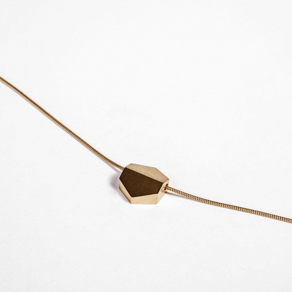 Gold hexagon pendant, Irish necklace, architectural jewellery made in Dublin  data-zoom=