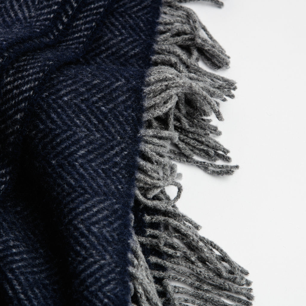 Navy Herringbone Throw data-zoom=