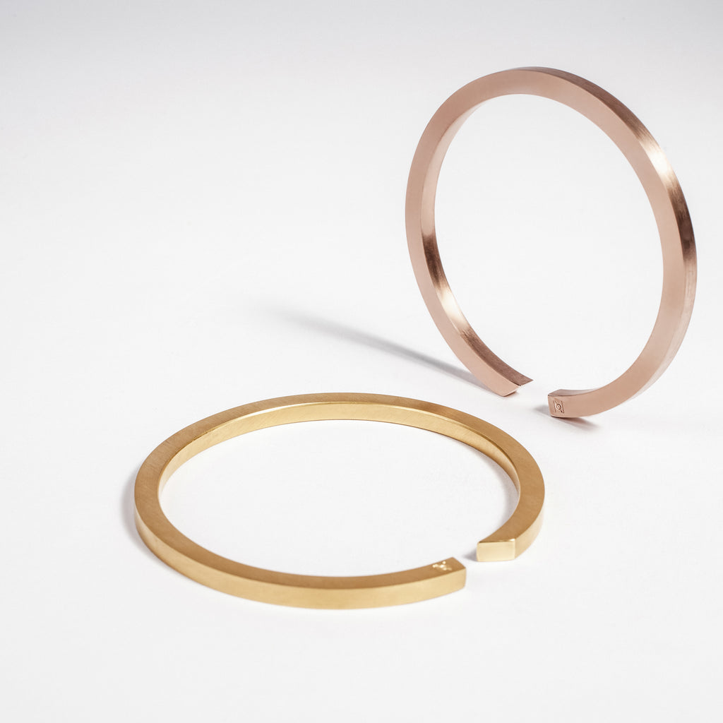 Minimalist rose and yellow gold bangle, made in Ireland, gold jewellery made in Dublin data-zoom=