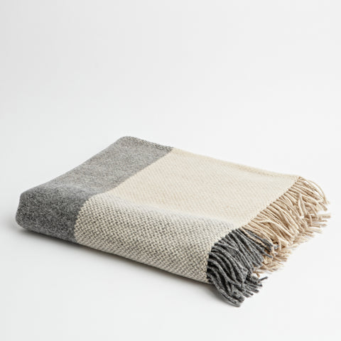 Biscuit & Grey check throw