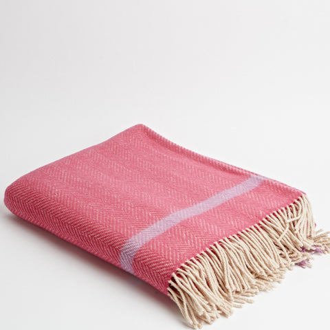 Raspberry Herringbone Throw