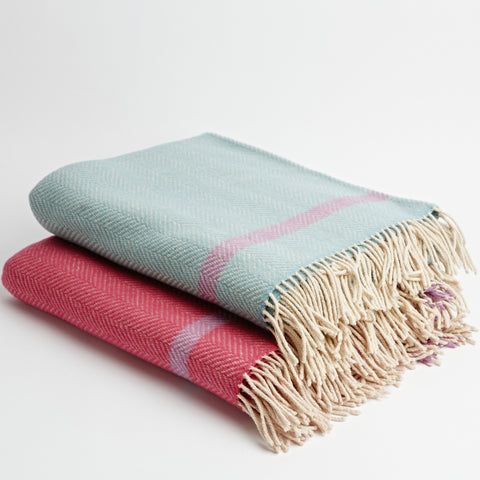 Mint Herringbone Throw
