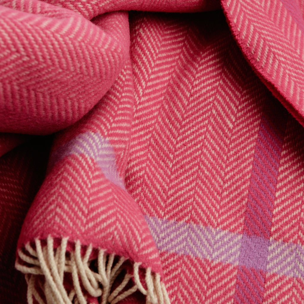 Raspberry Herringbone Throw data-zoom=