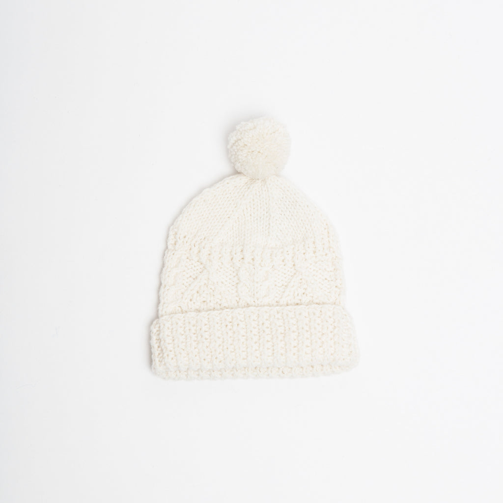 Cream Aran wool knit hat with pompom, real Irish clothes, made in Ireland data-zoom=