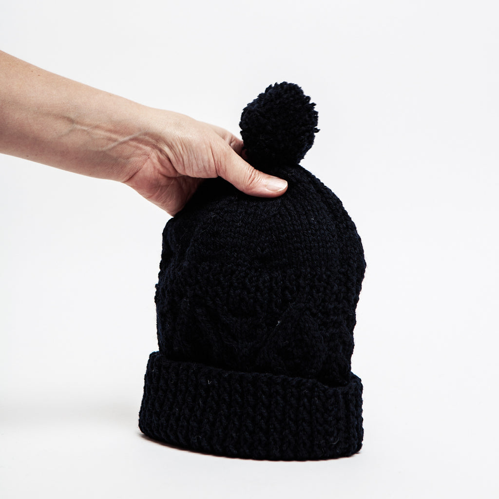 Dark navy Aran knit hat, made in Ireland, Irish woolies, bauble wool hats data-zoom=