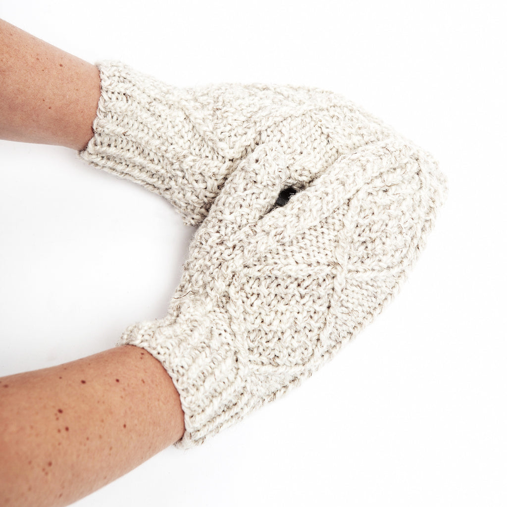 Handknit Aran Mittens - Irish Design Shop data-zoom=