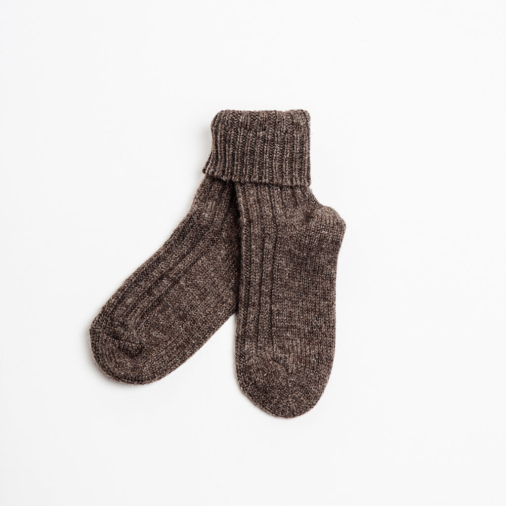 brown unisex 100% organic wool socks made in Ireland by Kerry woollen mills data-zoom=