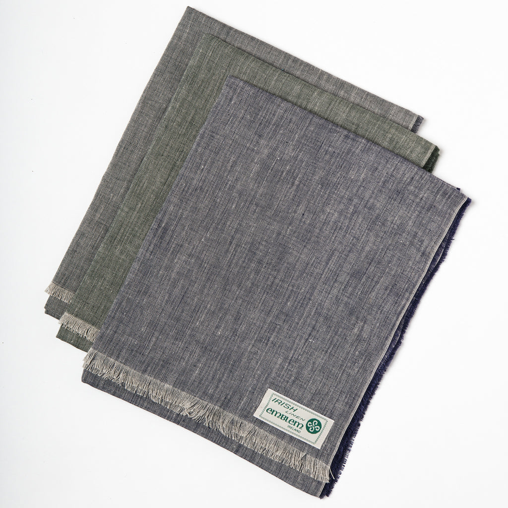 Best of Irish linen scarfs, green and blue Irish linen, Irish craft and design, ethically made textiles in Ireland, linen to wear handmade in Ireland data-zoom=