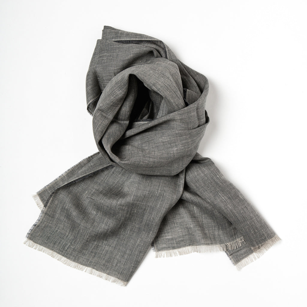 Irish Linen Scarf, made in Ireland, irish craft textiles, Irish design, neutral cool colour linen scarft data-zoom=