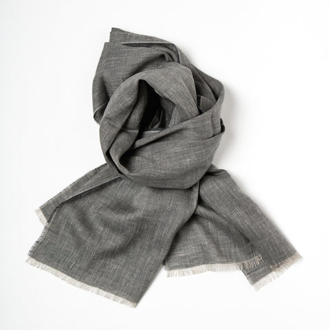 Irish Linen Scarf, made in Ireland, irish craft textiles, Irish design, neutral cool colour linen scarft