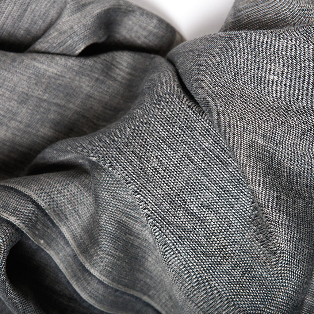 linen fabric, natural dye colour, rich grey linen scarf, Irish Linen Scarf by Emblem Weavers at Irish Design Shop data-zoom=