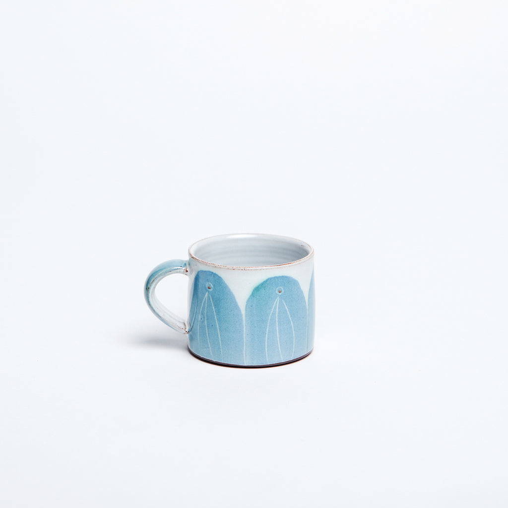 Irish espresso cup, small coffee cup, made in Ireland, beautiful blue arch glaze data-zoom=