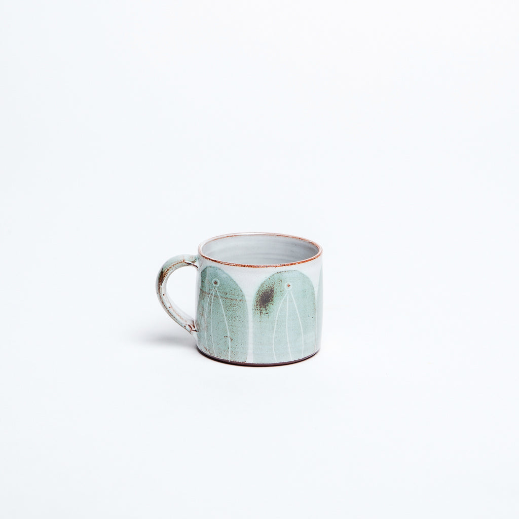 Rustic teal glaze, hand made, ethically made in Ireland, espresso cup by Caroline Dolan data-zoom=
