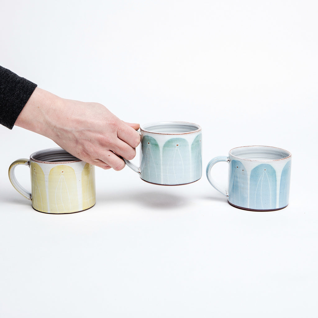 perfect sized mugs for coffee, beautiful hand painted blue, teal and yellow glaze  data-zoom=