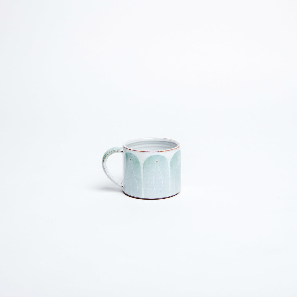 beautiful irish mug by master irish potter, teal arches hand painted with generous handle for the perfect cup of coffee or tea data-zoom=