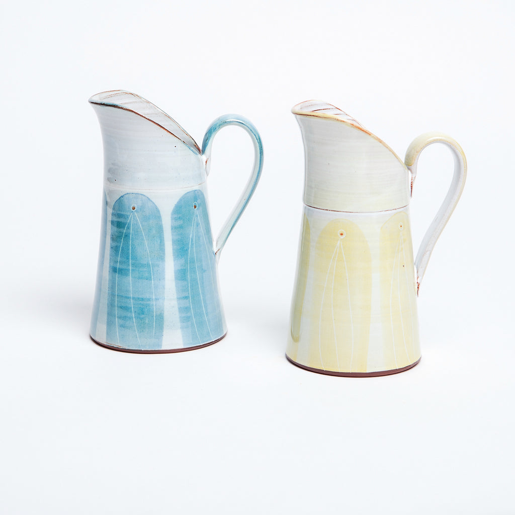 Traditional Irish jug with contemporary pattern glaze, available in signature blue and yellow, versatile Irish jug, with wide lip and comfortable handle. data-zoom=