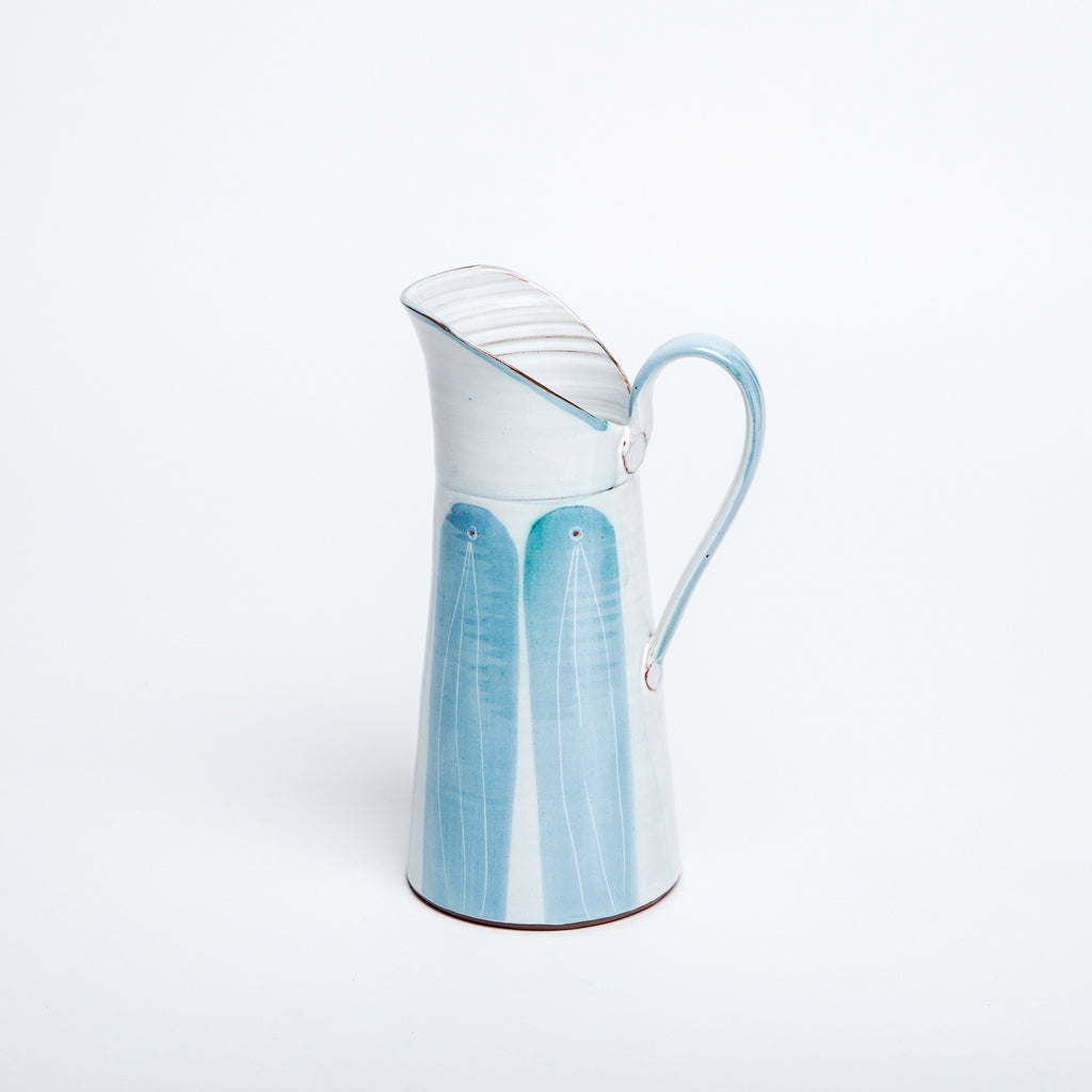 Perfect house warming gift for ceramic lovers, ceramic vase and jug in soft blue, Made in Ireland, handmade, hand thrown ceramic jug data-zoom=