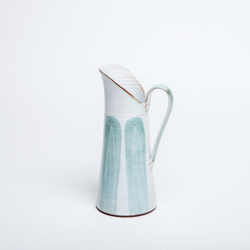Ceramic tall water jug, traditional irish design with contemporary twist, teal colour arches hand painted glaze on white. Delicate Irish pottery from Kilkenny, made in ireland data-zoom=