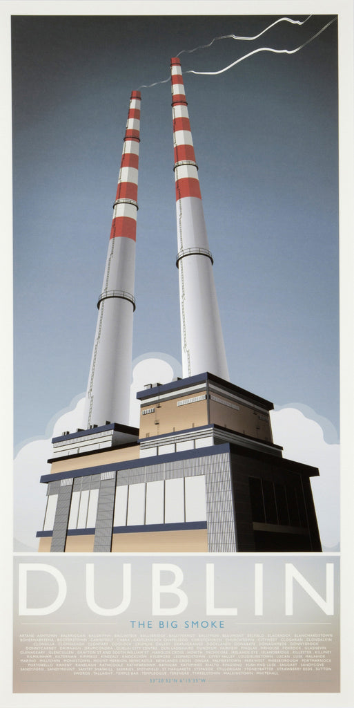 Giclée print of Poolbeg Chimneys by Fergus O' Neill, Dublin's famous industrial landmark data-zoom=