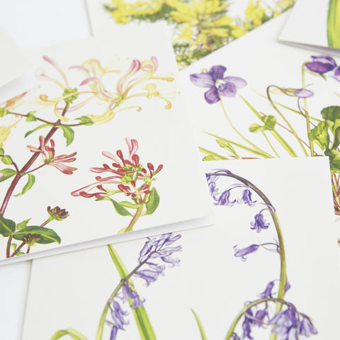 close-up of floral designs, honeysuckle, bluebell, dog violet
