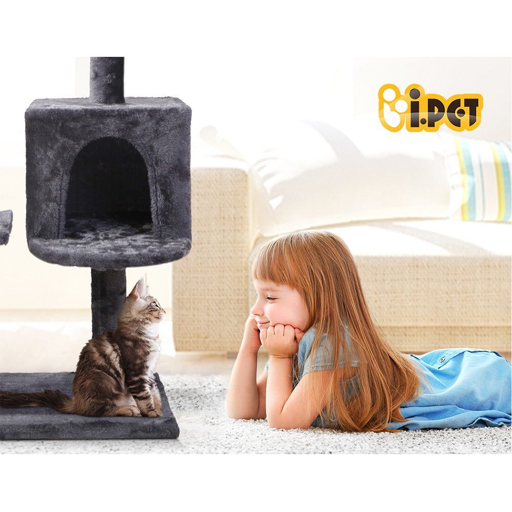 i.Pet Cat Tree / Scratching Post with Hanging toy in Dark Grey - i.Pet