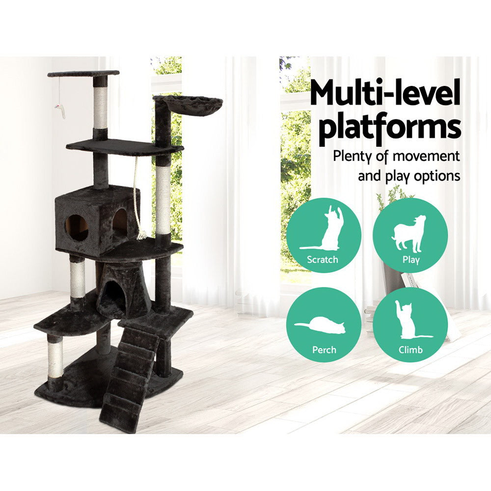 i.Pet Multi Level Cat Scratching Post in Dark Grey (193cm) - i.Pet Pet Supplies Australia