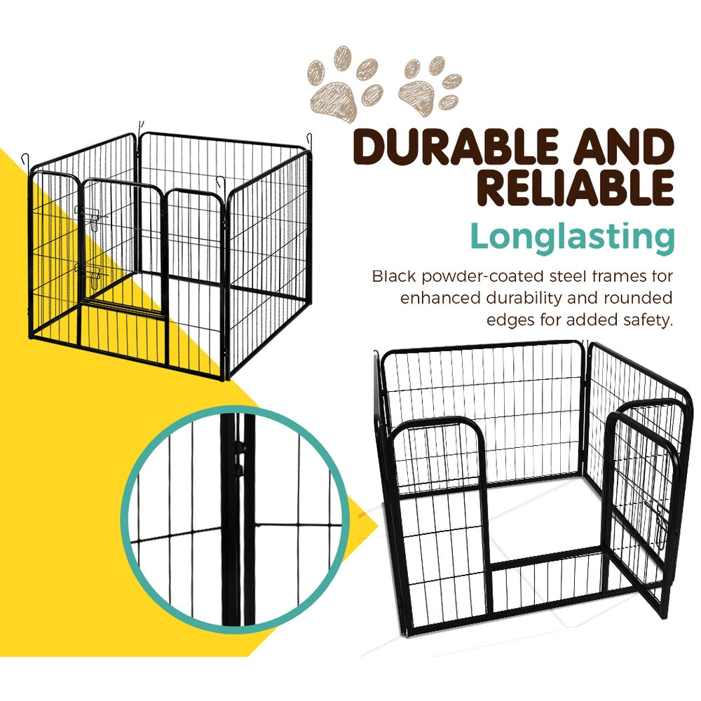 i.Pet 8-Panel Pet Playpen for Dogs and Puppies (80x60cm) - i.Pet
