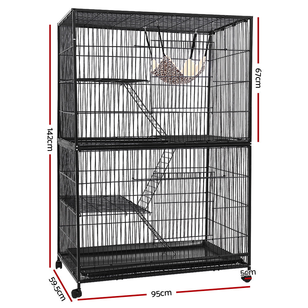 i.Pet 4 Level Cage for Bird, Ferret, Parrot, Aviary, Rabbit & Hamster (142cm) - i.Pet Pet Supplies Australia