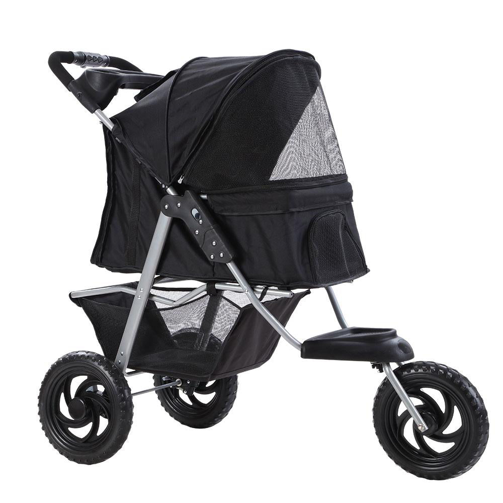 i.Pet Foldable Stroller Pram for Dog and Cat in Black - i.Pet