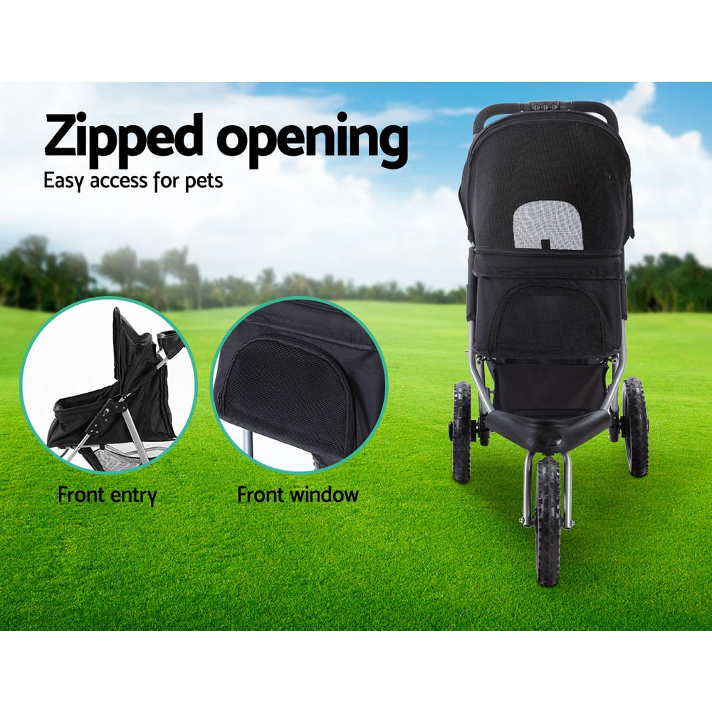 i.Pet Foldable Stroller Pram for Dog and Cat in Black - i.Pet Pet Supplies Australia