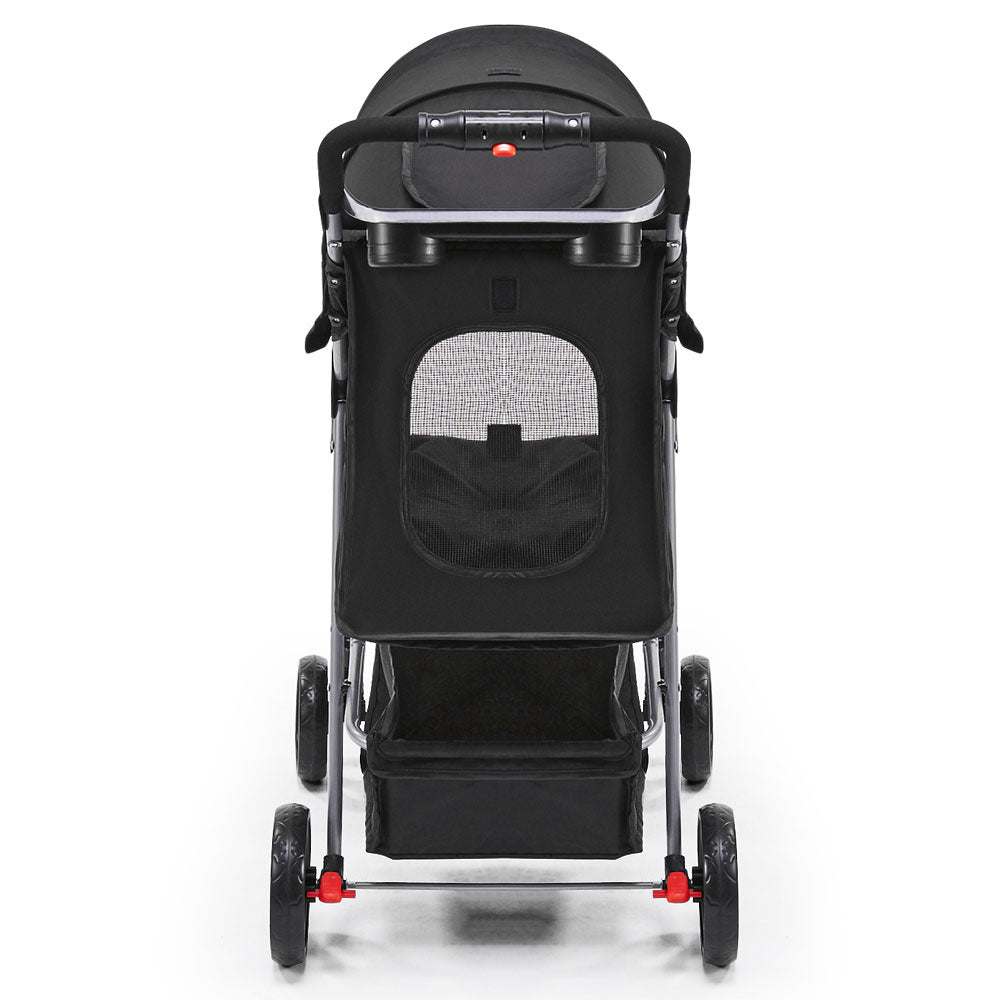i.Pet 4 Wheel Happy Pet Stroller for Dog Cat in Black - i.Pet