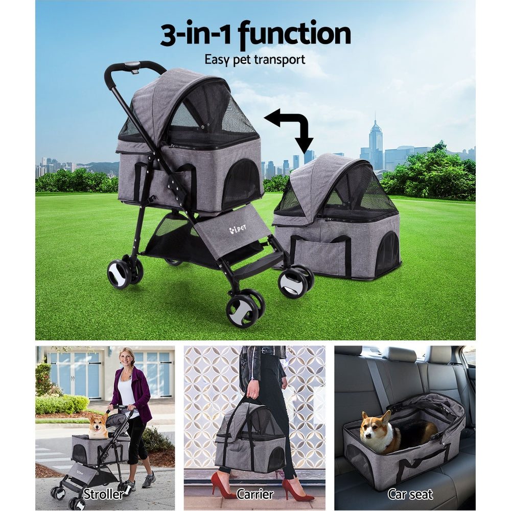 i.Pet 3 in 1 Foldable Pet Stroller Pram for Dog and Cat in Grey - i.Pet Pet Supplies Australia
