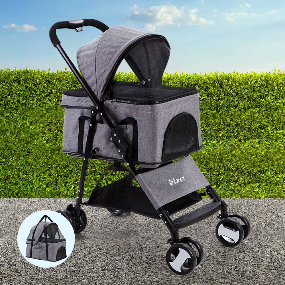 i.Pet 3 in 1 Foldable Pet Stroller Pram for Dog and Cat in Grey - i.Pet