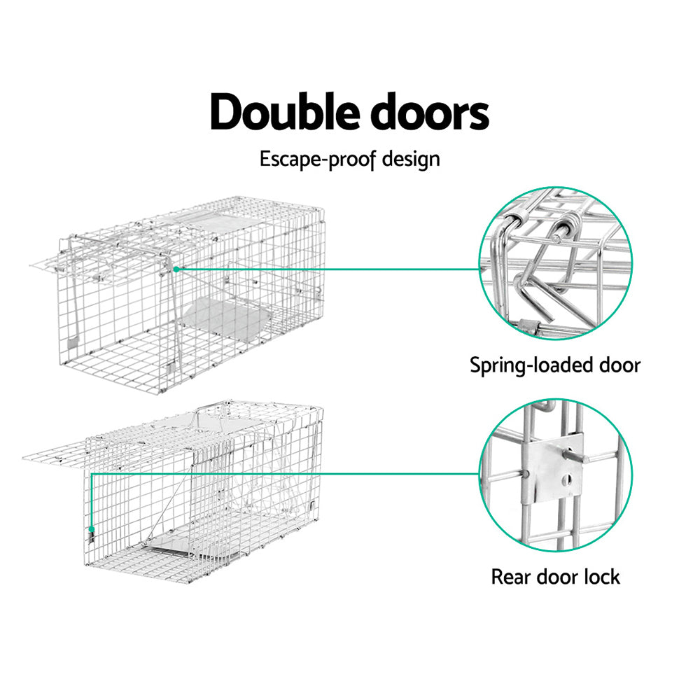 i.Pet Humane Animal Trap Cage 94 x 34 x 36cm  - Silver - i.Pet Pet Supplies Australia