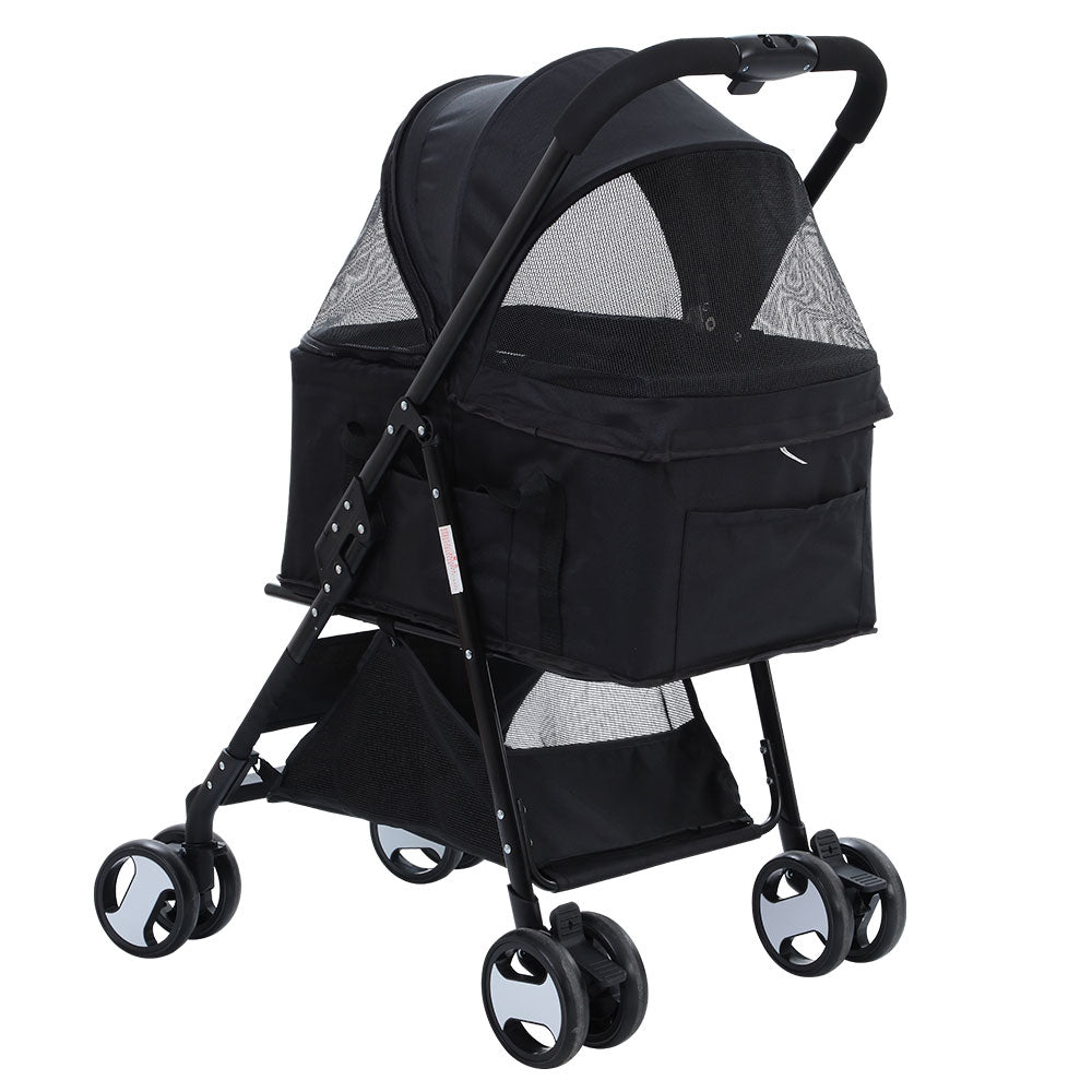 i.Pet 3 in 1 Fold-able Pet Stroller for Dog and Cat in Black - i.Pet Pet Supplies Australia