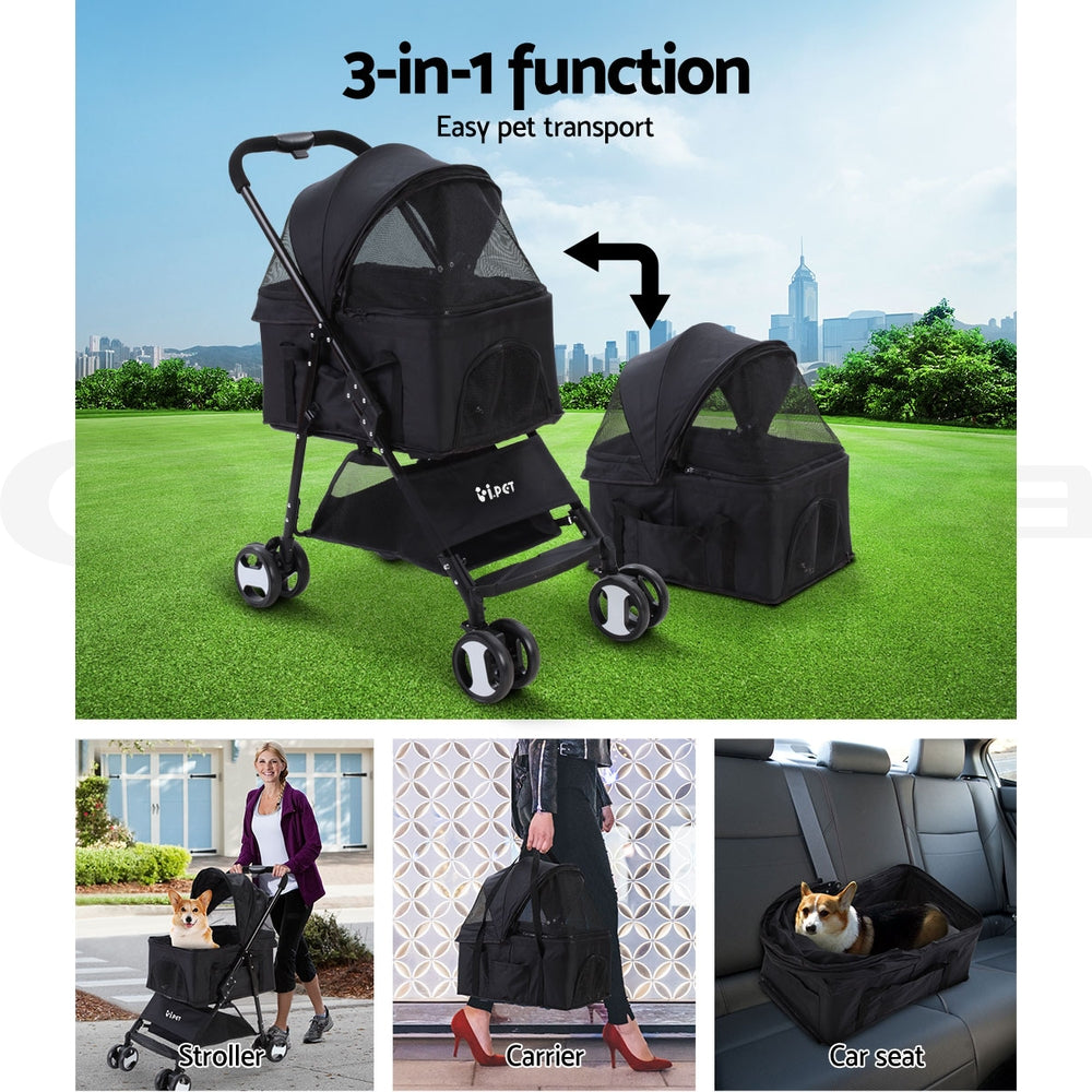i.Pet 3 in 1 Fold-able Pet Stroller for Dog and Cat in Black - i.Pet