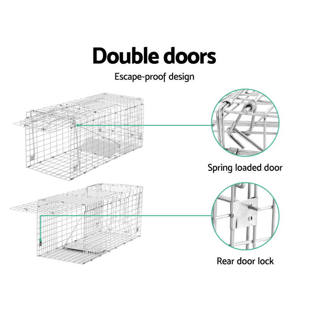 Set of 2 Humane Animal Trap Cage 66 x 23 x 25cm  - Silver - i.Pet Pet Supplies Australia