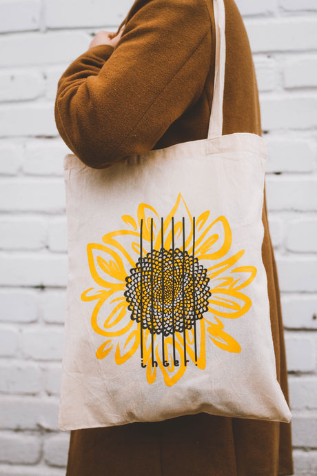 Sunflower White Tote Bag