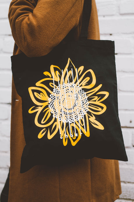 Sunflower Black Tote Bag