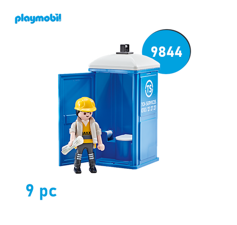 Playmobil 9844 City Action - Mobile Toilette mit Bauarbeiter - Baustelle 👷‍♂️
