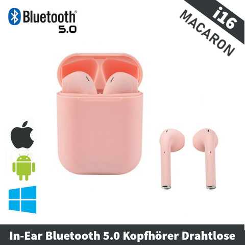 In-Ear Bluetooth 5.0 Kopfhörer Drahtlose Pink | i16 TWS Softtouch Edition 🎧