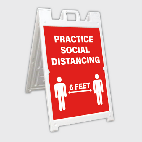 social distancing a-frame sign