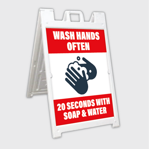 hand washing a-frame sign