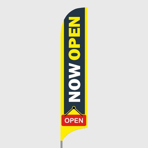 now open feather flag