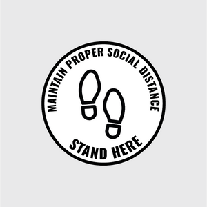 Stand Here Circular Floor Decal - 5 Pack