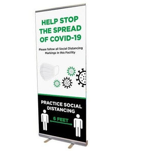 Retractable Banner Stand-Social Distancing