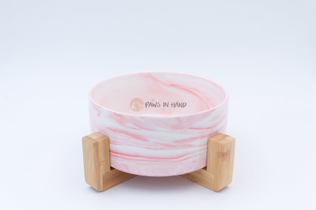 Ceramic Food bowl with Bamboo Holder